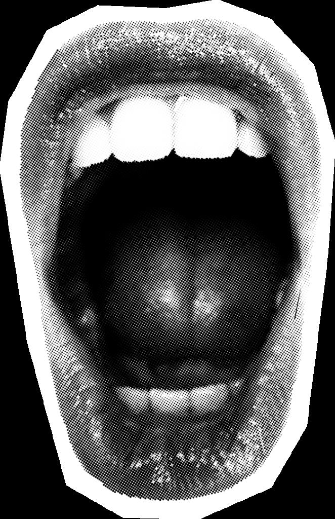 Ilustración de una boca abierta, gritando.
