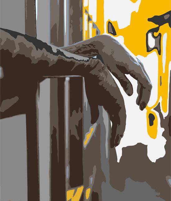 Ilustración digital. Vista lateral de dos manos que sobresalen de una celda.