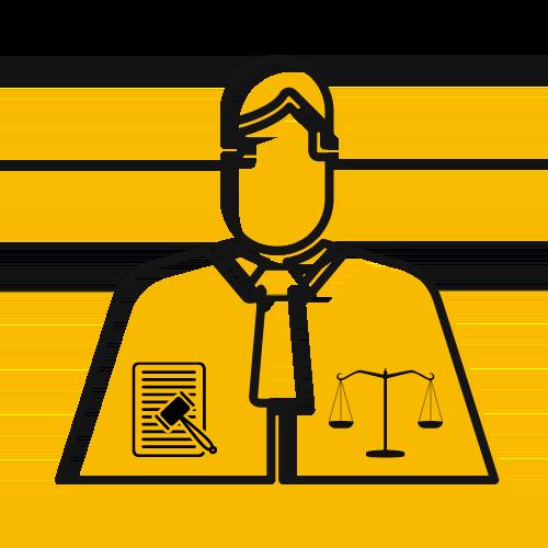 Ilustración de un jurista con toga, una balanza y un mazo a cada lado.
