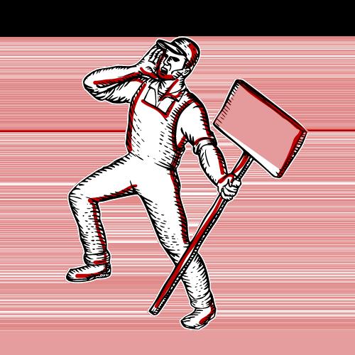 Ilustración de un trabajador con una pancarta manifestándose.