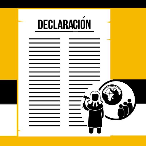 Ilustración de un documentos redactado junto a una juez y un globo del mundo.