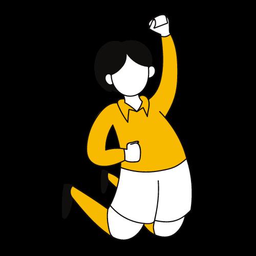Ilustración de una figura saltando con el puño cerrado y alzado.
