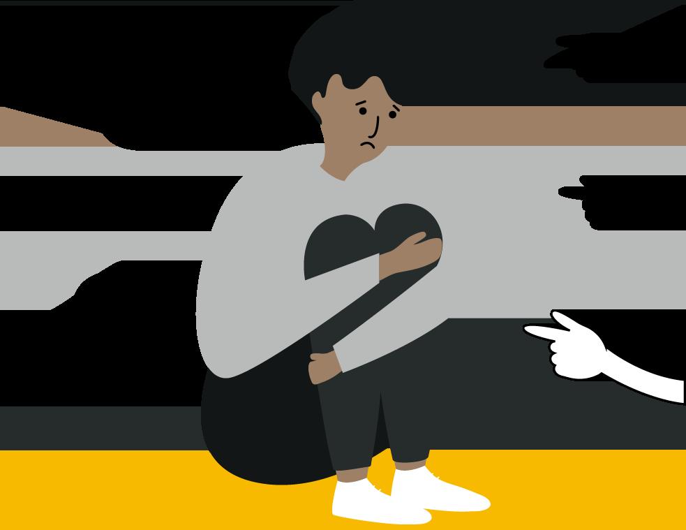 Ilustración de una personas negra sentada en el suelo, sujetando sus rodillas mientras manos la señalan.