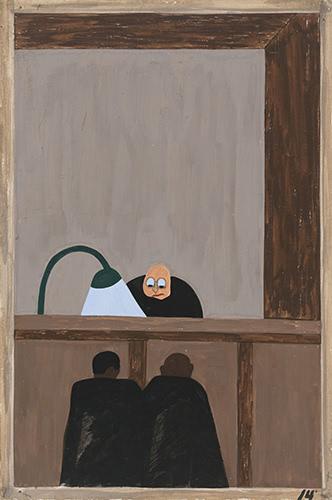 Pintura. Serie 'Las migraciones', de Jacob Lawrence. Vista frontal de un tribunal de justicia. En la parte superior, un juez blanco, mirando desde su superioridad a dos personas negras frente a él, de espaldas al espectador, iluminadas por un foco.
