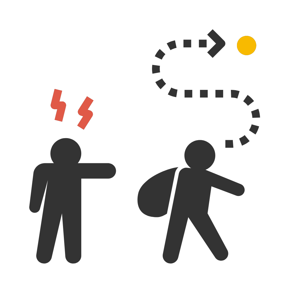 Ilustración. Una persona señalando a otra para que se marche.