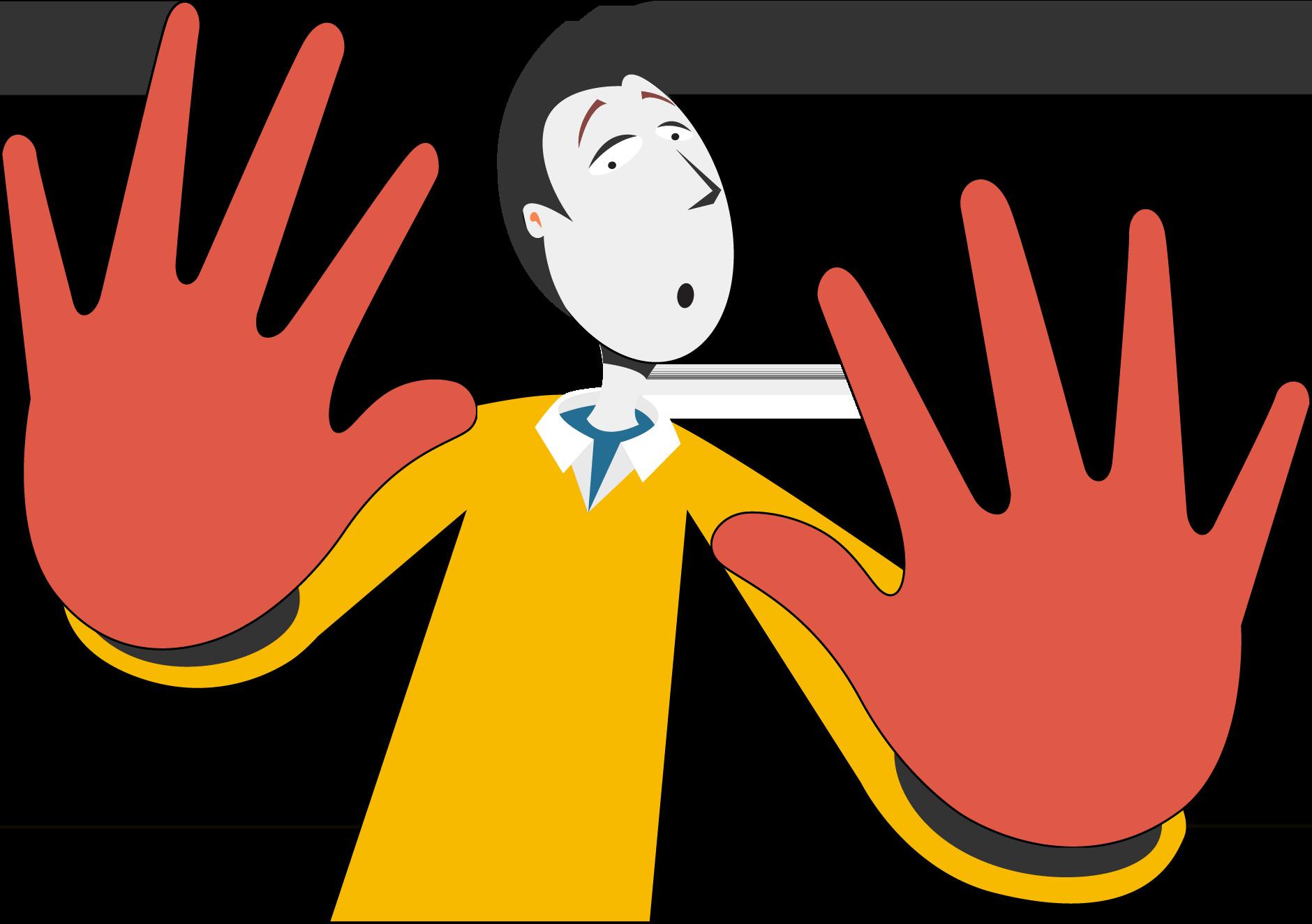 Ilustración de una persona negando con las manos que ha sido ella.