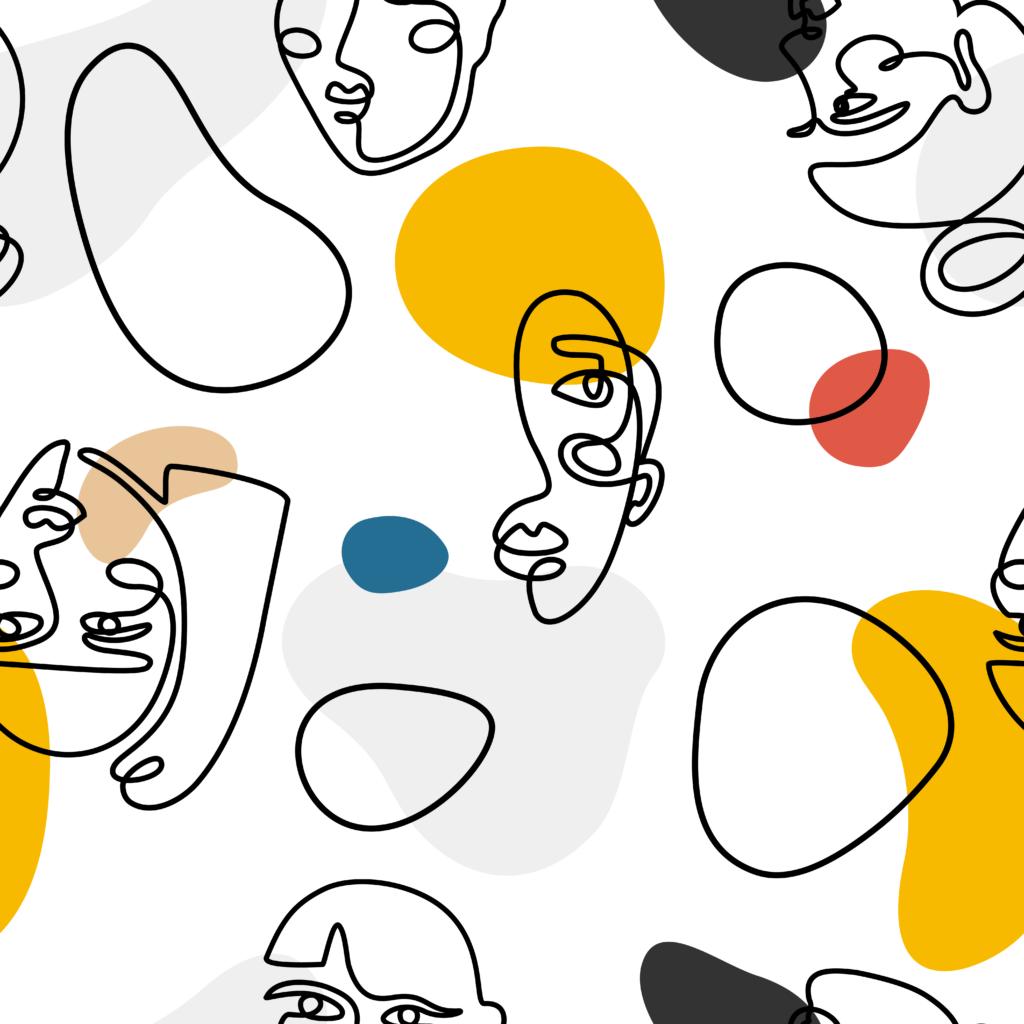 Ilustración de varios rostros abstractos.