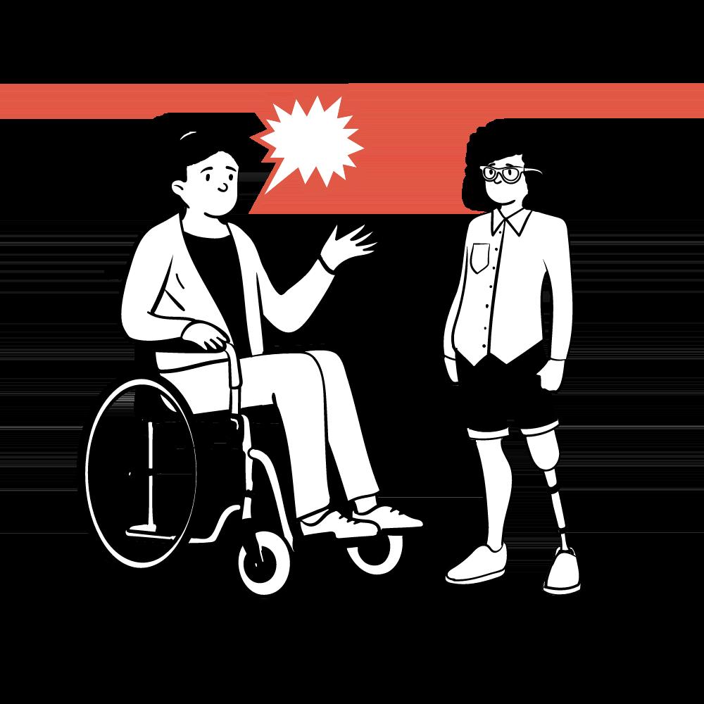 Ilustración de una persona en silla de ruedas insultando a otra persona con una prótesis ortopédica.