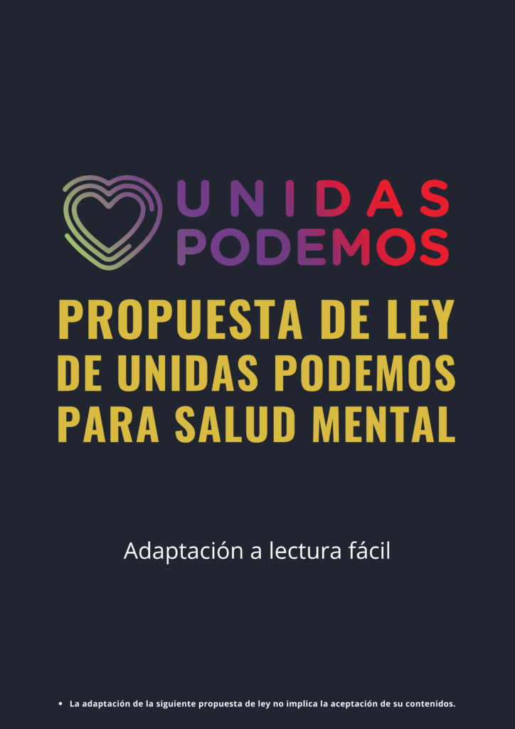 Portada de la adaptación con el logotipo de Unidas Podemos y la alerta: la adaptación de la siguiente propuesta de ley no implica la aceptación de su contenidos.